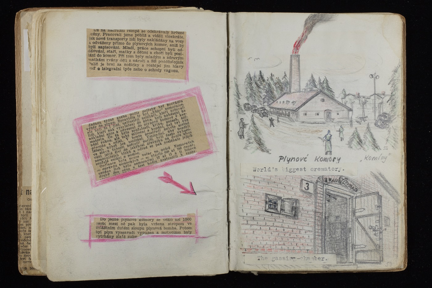 Open page of Alfred Kantor's sketchbook featuring crematoria
