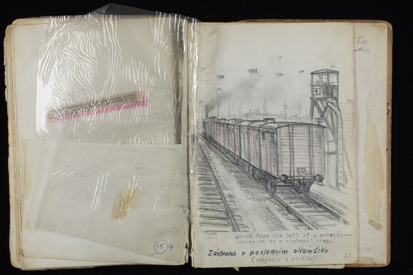 Open page of Alfred Kantor's sketchbook featuring train car and guard tower