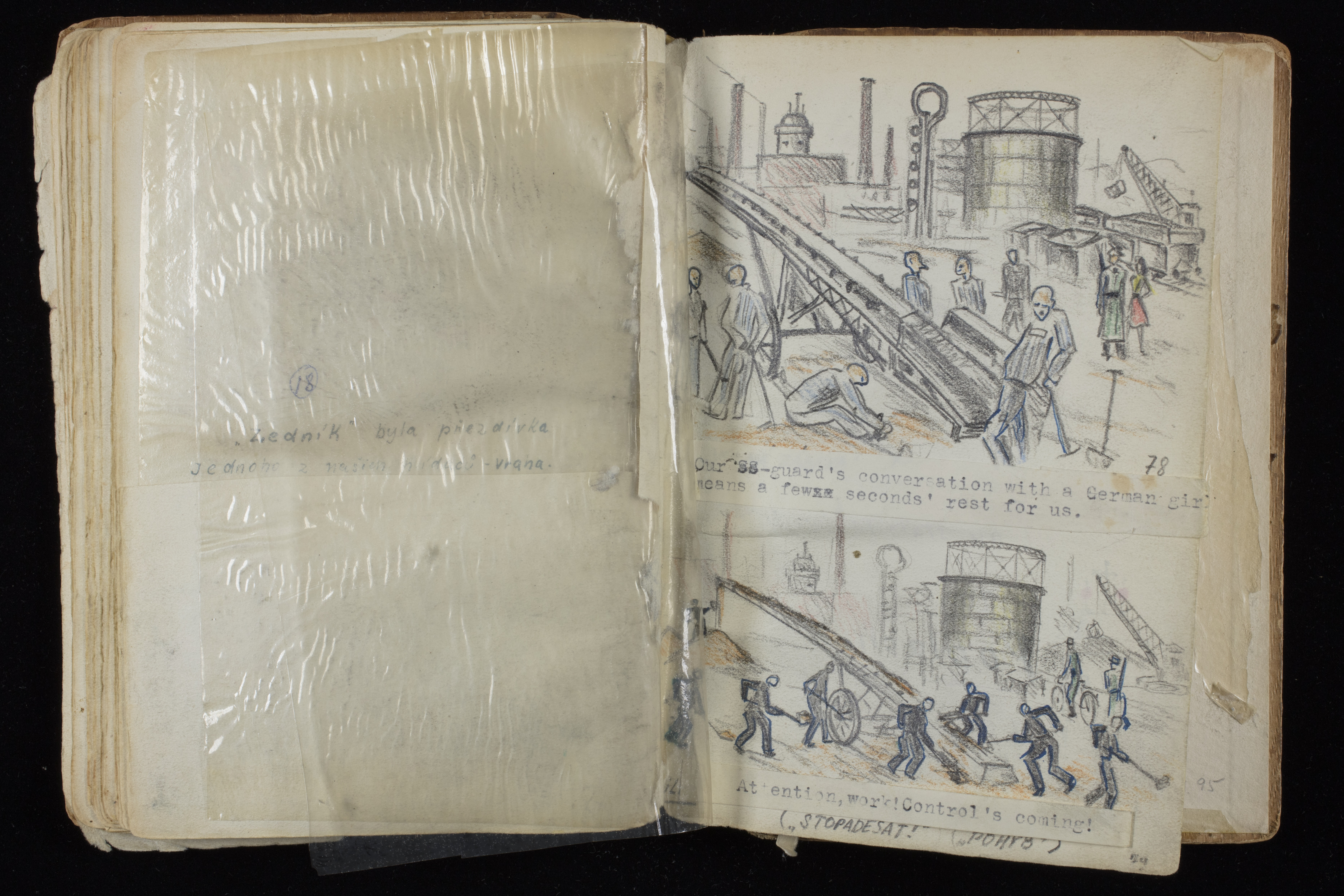 Page depicting slave labor from Alfred Kantor's sketchbook