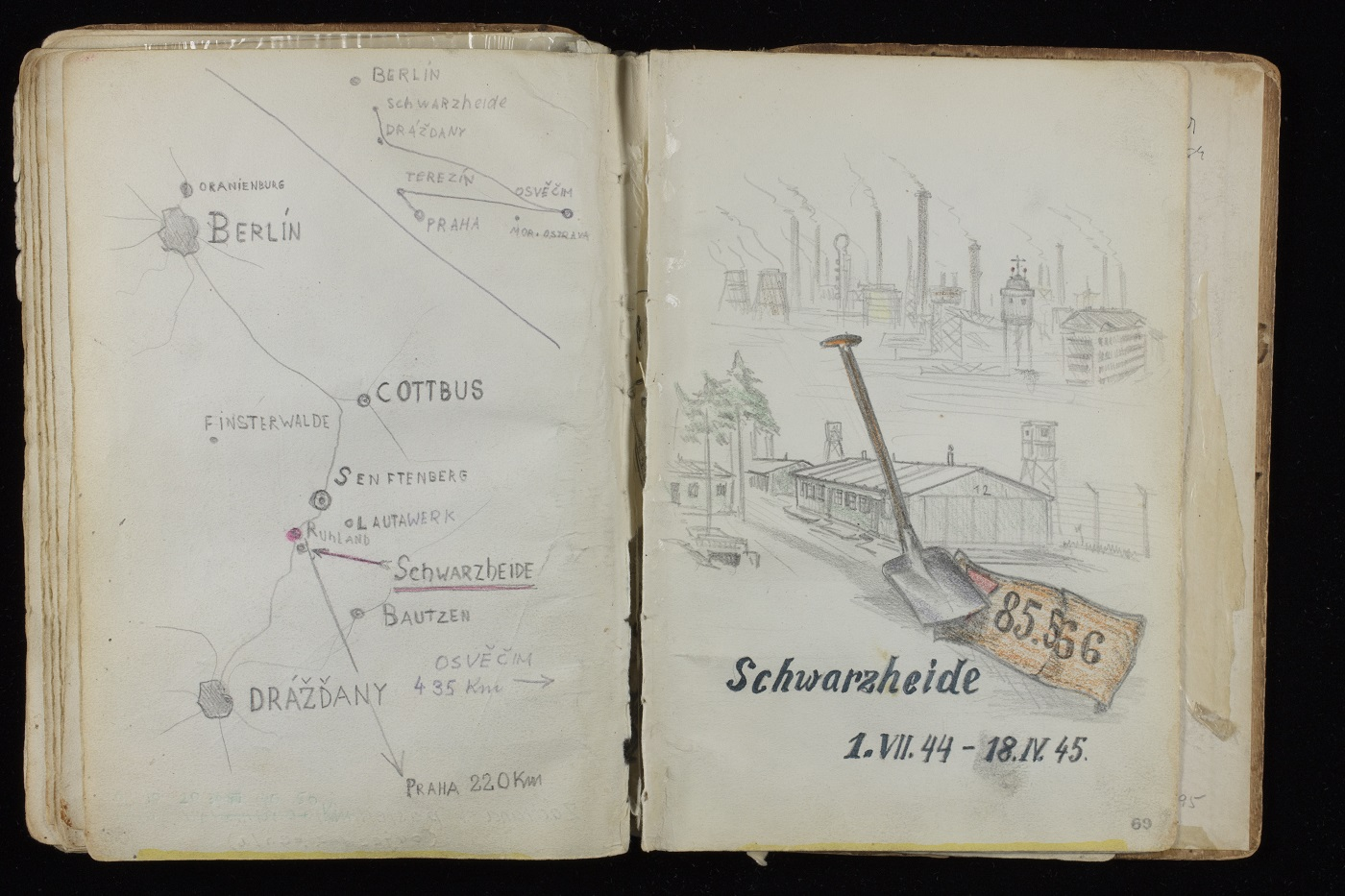 Open page of Alfred Kantor's sketchbook featuring a map of Schwarzheide