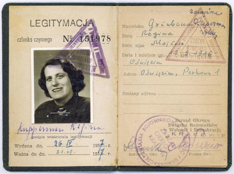 Regina Kupperman's ZBoWiD membership card, 1957