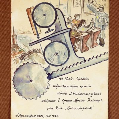 Birthday card made in the Lodz Ghetto 1944