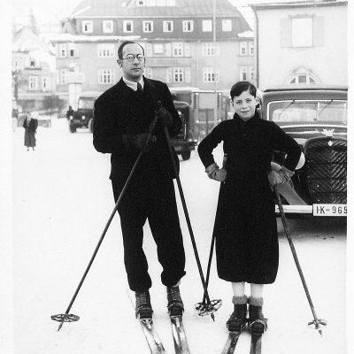 Richard Faerber and son Walter on skis, 1935 – 1936.