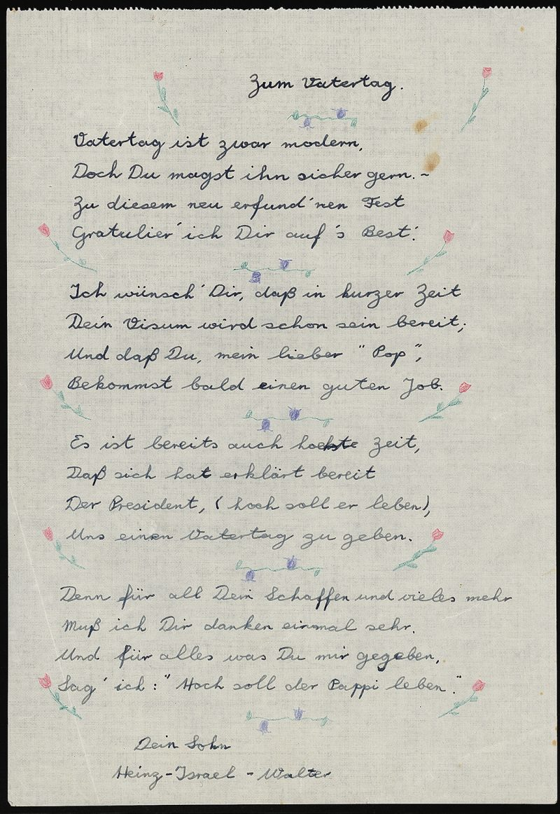 Walter Ferber, Father's Day Poem, 1939 – 1940.