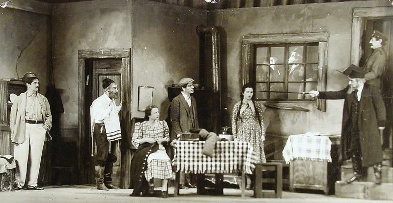 Scene from unidentified play with stage design by Sam Leve, undated