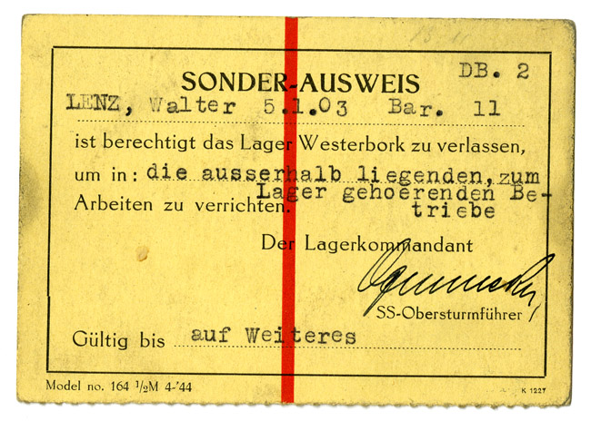 Sonder-Ausweis (Special Identification), Camp Westerbork