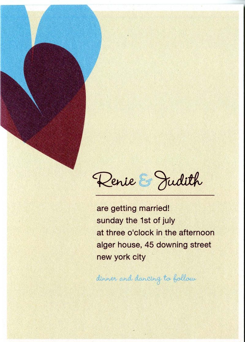 Invitation to wedding of Renie Rutchick and Judith Trachtenberg