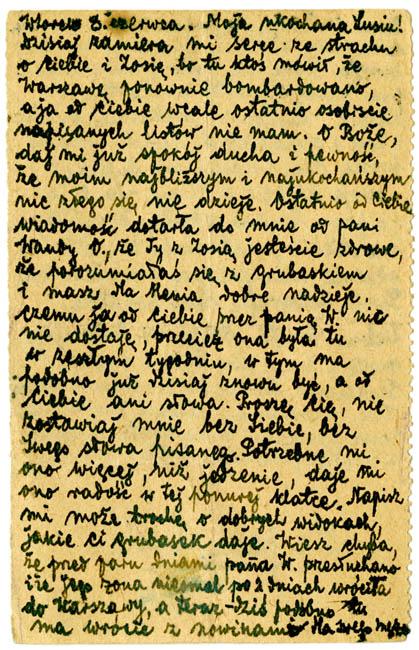 Letter from Dr. Henryk Wieliczanski in Majdanek to his wife