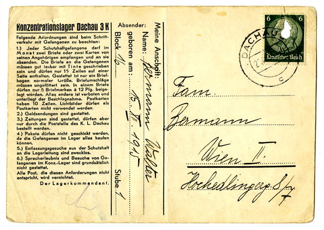 Postcard from Walter Bermann in Dachau to his wife and parents in Vienna.