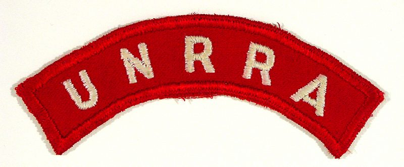 "UNRRA ""Flash"", worn by UNRRA staff on their military style uniforms."