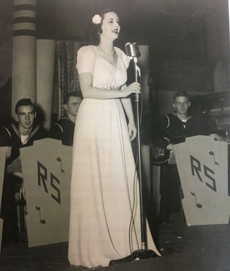 Marian Soss sings for the USO