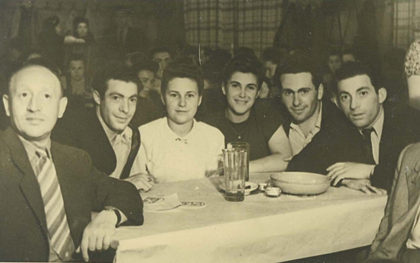 Post-war gathering with friends.