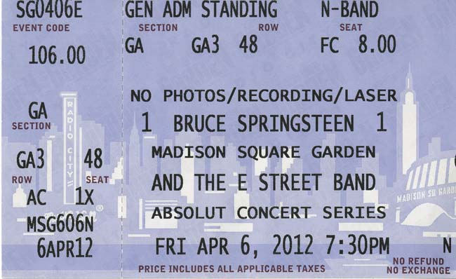 Bruce Springsteen at Madison Square Garden April 6 2012 ticket stub