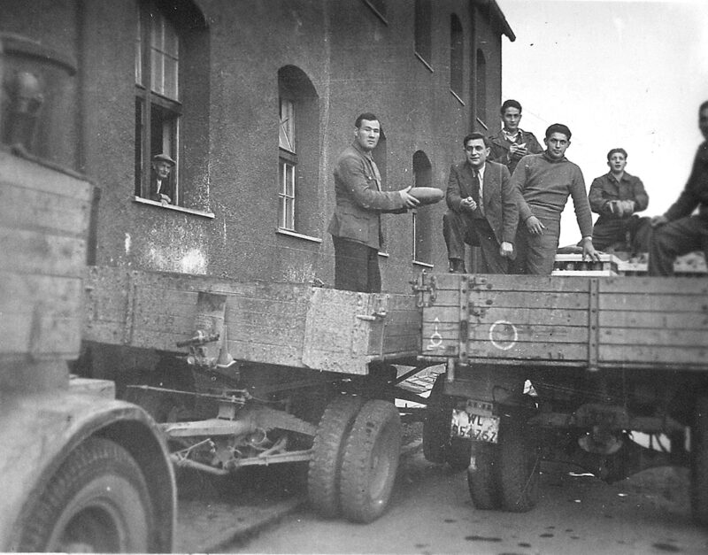 Boris Blum supervising food distribution in the Landsberg Displaced Persons Camp, Germany, circa 1947