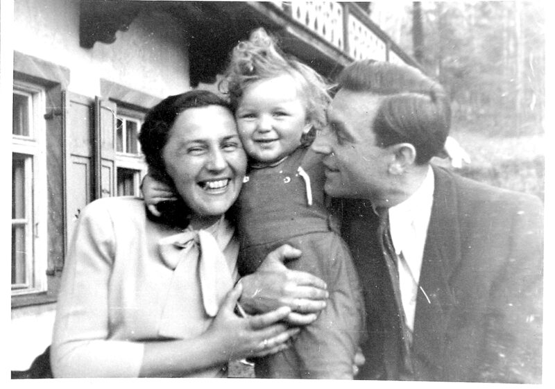 Frania, Towa, and Boris Blum in the Landsberg Displaced Persons Camp, Germany, 1947.