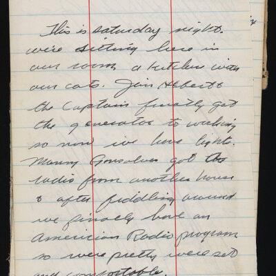 Diary of John Beckett describing visits to camps, 1945.