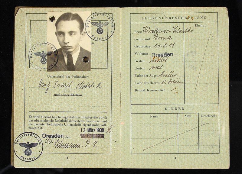 "Passport of Heinz ""Israel"" Motulski, with J."