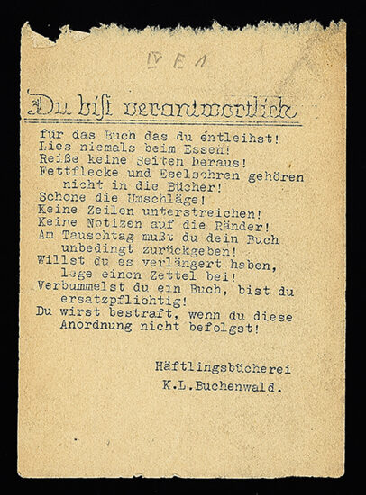 Library rules for inmates when borrowing books from library in concentration camp Buchenwald