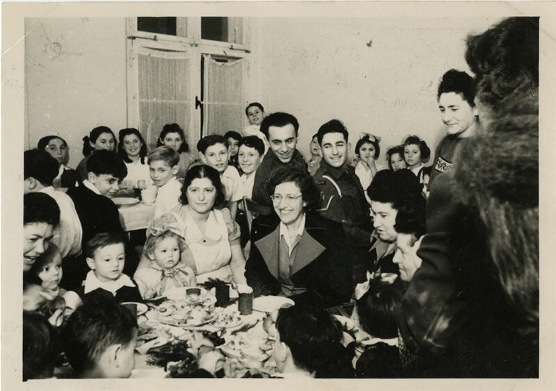 Vida Kaufman at a children's party at Bergen-Belsen DP Camp