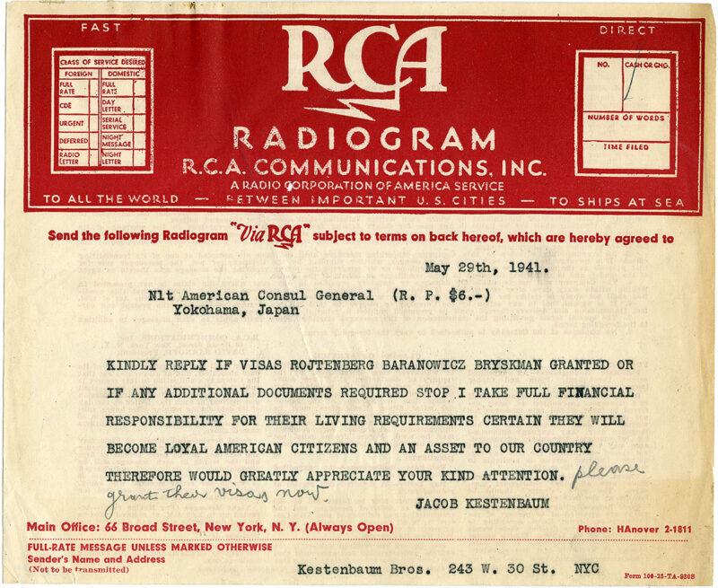 Telegram from Kestenbaum to American Consul General in Yokohama