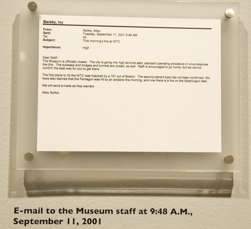 E-mail to Museum Staff at 9:48 AM, September 11, 2001