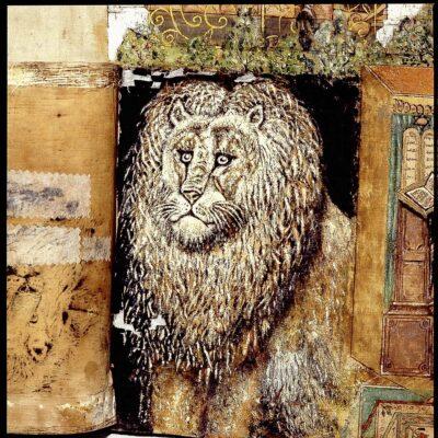 Steinberger sukkah cover: Lion detail, upper panel.