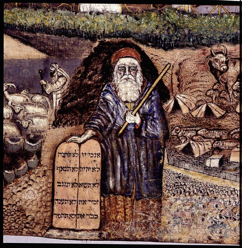 Steinberger sukkah cover detail depicting Moses and the Ten Commandments.