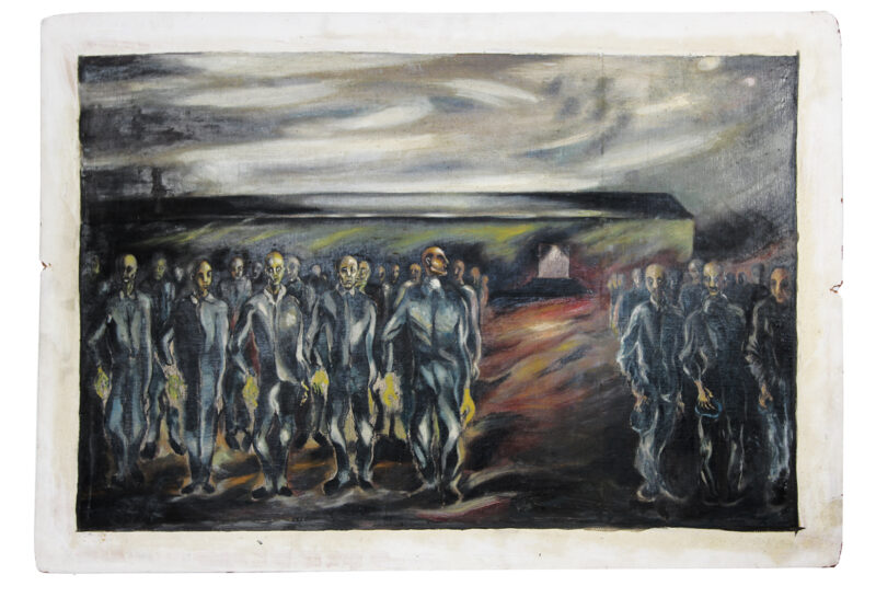 """""""Roll Call in Concentration Camp,"""" 1946, Boris Lurie"""