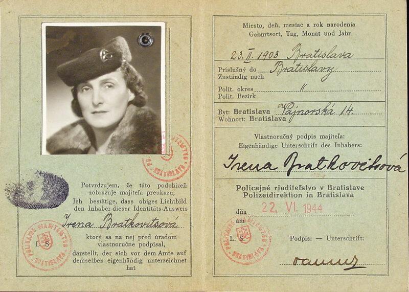False identity card in the name of Irena Bratkovitsova